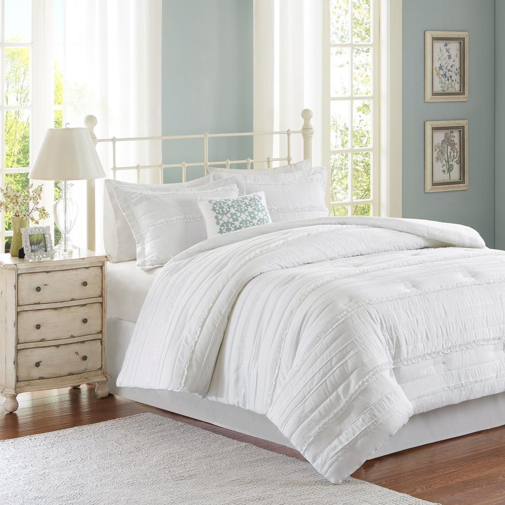 Isabella 5-Piece White Queen Comforter Set