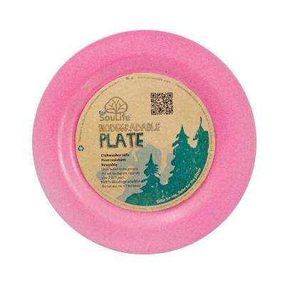 Bamboo 1-Piece Pink Dinner Plate (4-Pack)