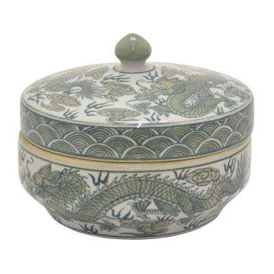 5.75 in. Green and White - Green Ceramic Jar