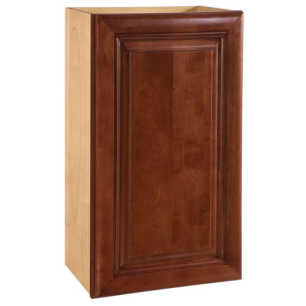 Home Decorators Collection Lyndhurst Assembled 15x42x12 in. Single Door Hinge Left Wall Kitchen Cabinet in Cabernet