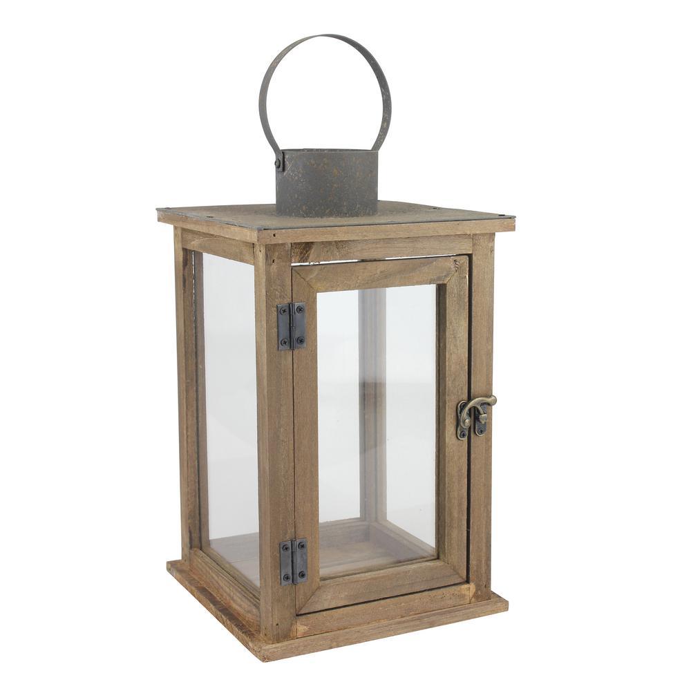 8 in. W x 13 in. H Rustic Brown Lantern