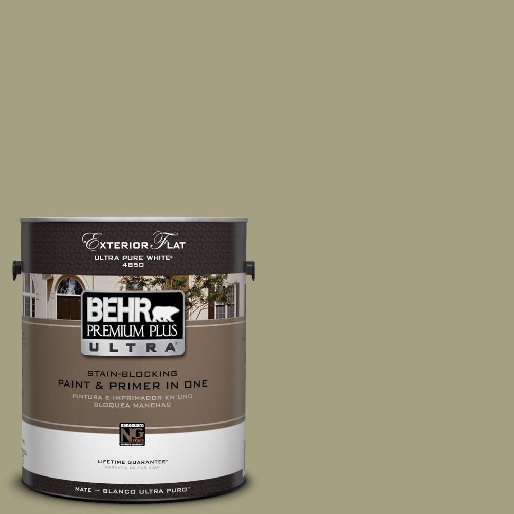 BEHR Premium Plus Ultra 1-Gal. #UL200-18 Cricket Flat Exterior Paint
