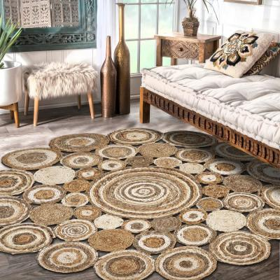 Natural Jute LR12039-60RD Bleach Gray 6 ft. Round Indoor Area Rug