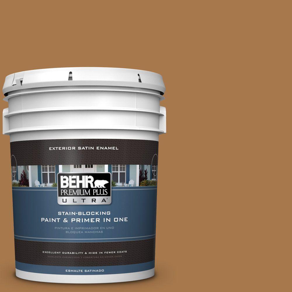 5 gal. #HDC-CL-18A Butter Caramel Satin Enamel Exterior Paint