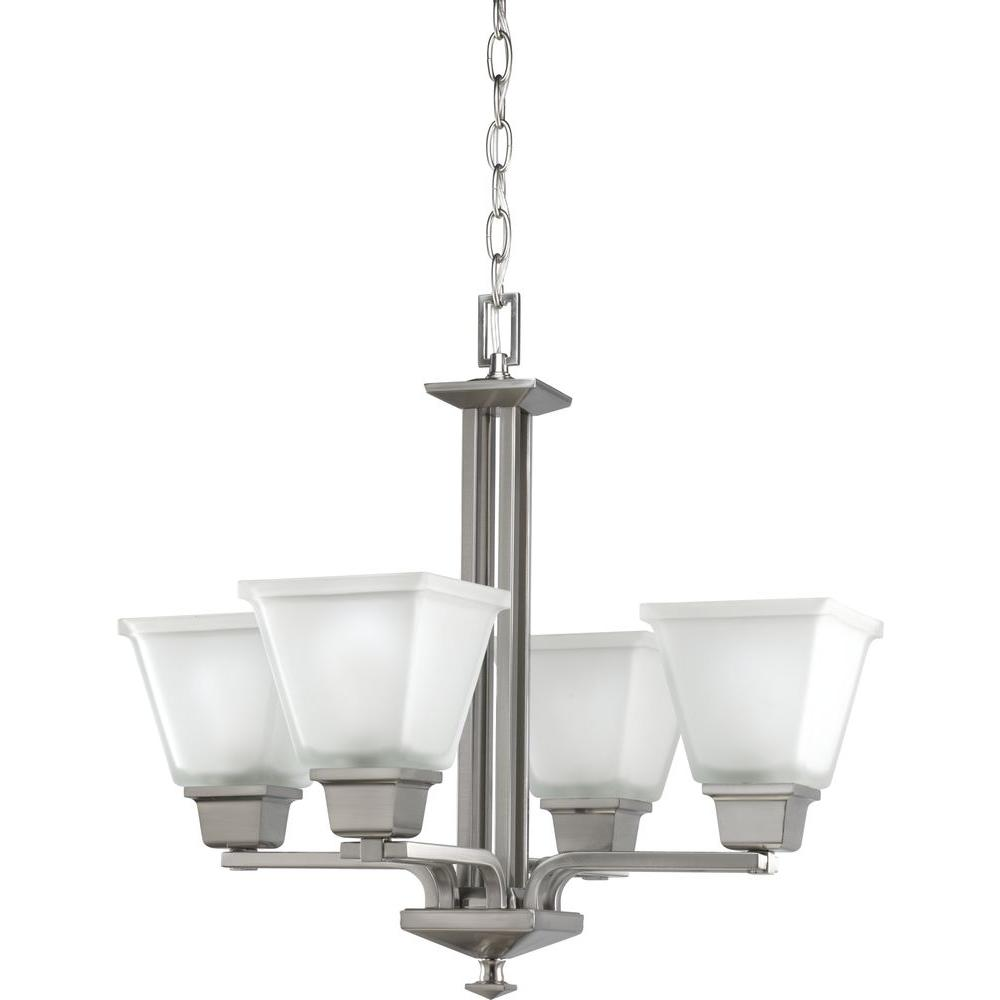 North Park Collection 4-Light Brushed Nickel Chandelier with Shade with Etched