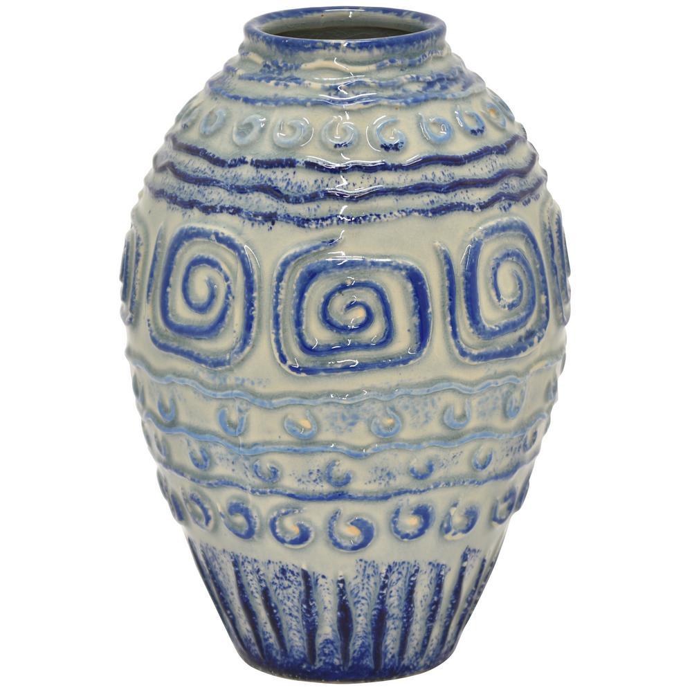 THREE HANDS 10.5 in. Blue Porcelain-Ceramic Vase 87064