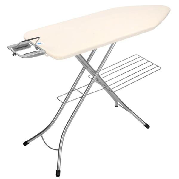 Household Essentials Steel Top Wide Ironing Board with Iron Rest 18 x 49 Iron Surface Tan Cover and Bronze Finish