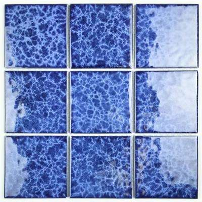 Blue Pool Rated Square 12 in. x 12 in. x 6 mm Glossy Glazed Peel and Stick Porcelain Mosaic Tile (18 sq. ft. / case)