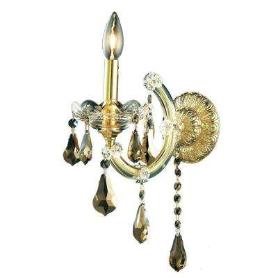 1-Light Gold Sconce with Golden Teak Smoky Crystal