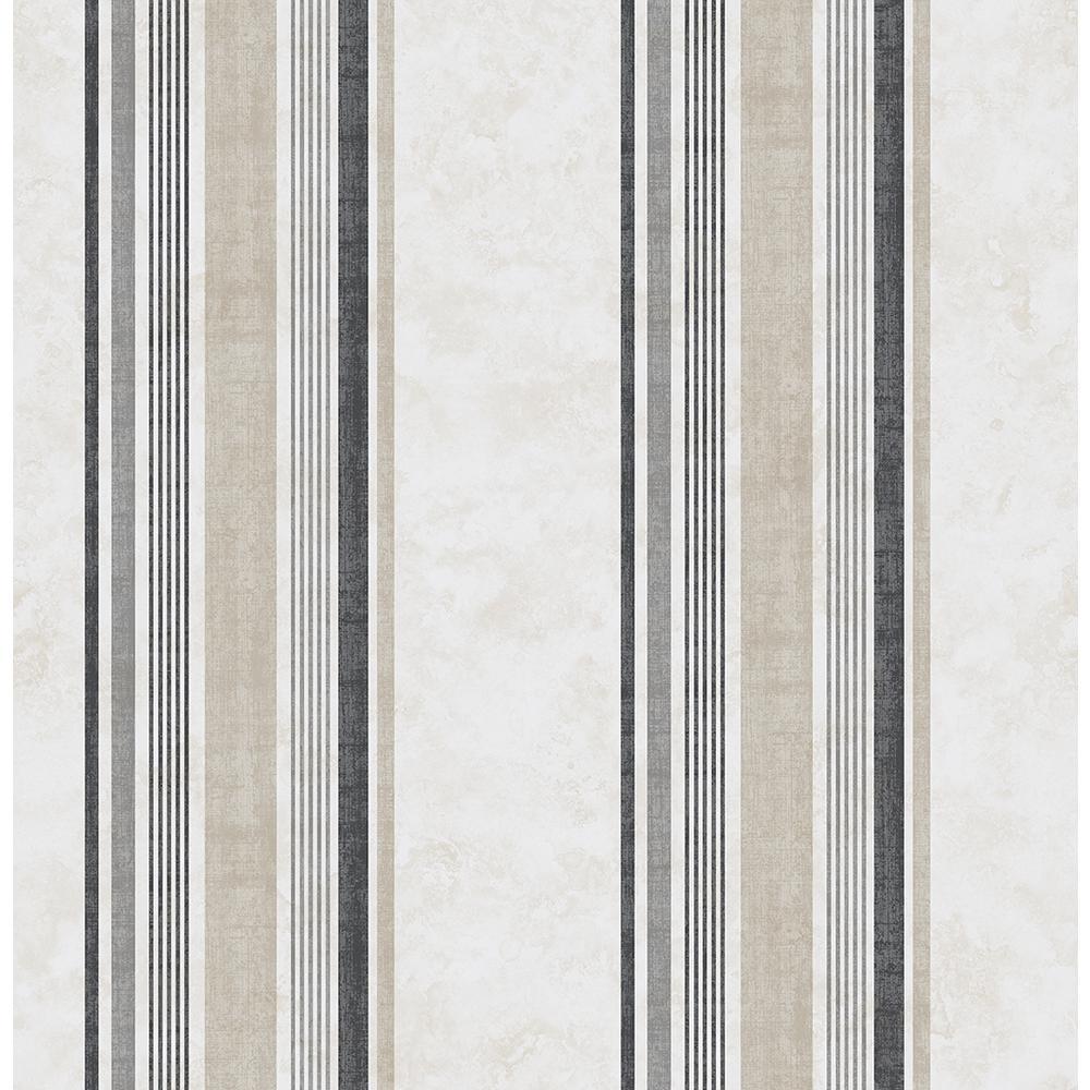 56.4 sq. ft. Hamilton Grey Stripe Wallpaper