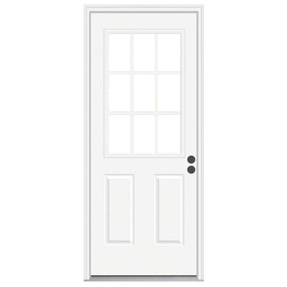 JELD-WEN 32 in. x 80 in. 9 Lite Primed Steel Prehung Left-Hand Inswing Front Door w/Brickmould