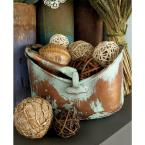 Distressed Copper and Verdigris Metal Oval Basket Planters with Handle (Set of 3)