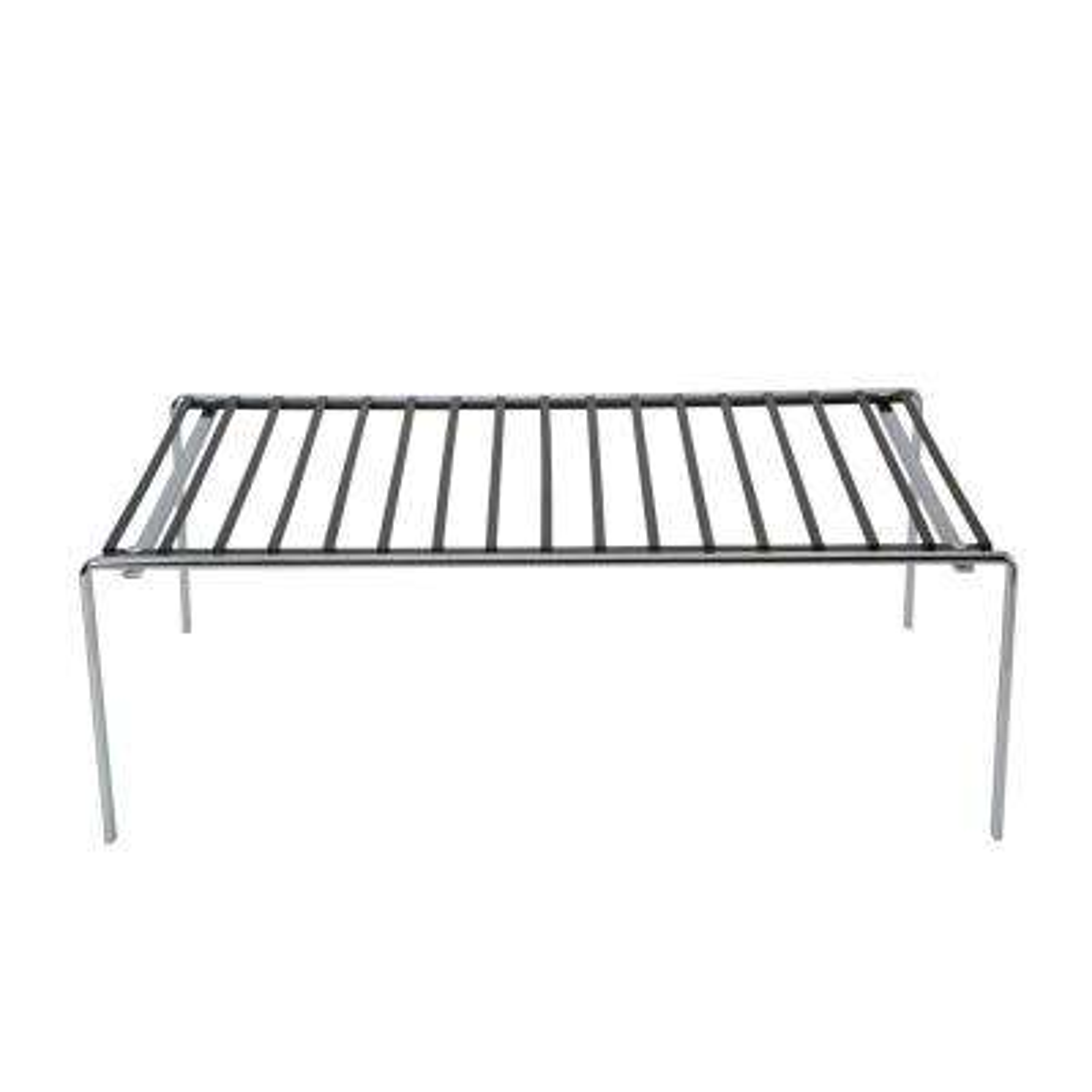 Large Matte Black and Chrome Helper Shelf