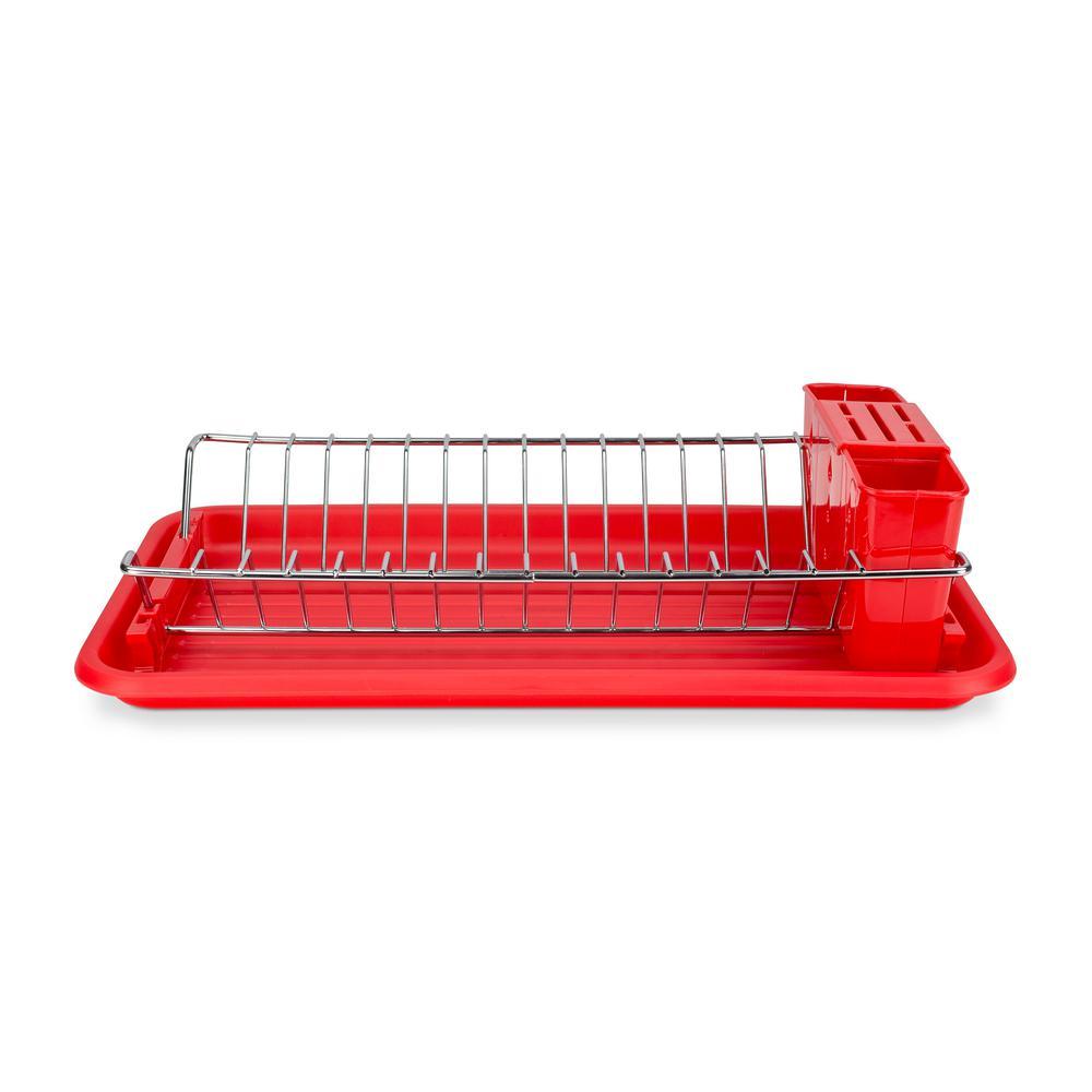 Home Basics Compact Red Dish Rack