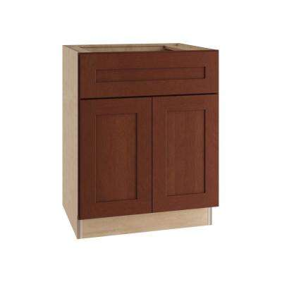 Kingsbridge Assembled 24x34.5x24 in. Double Door and False Drawer Front Base Kitchen Sink Cabinet in Cabernet