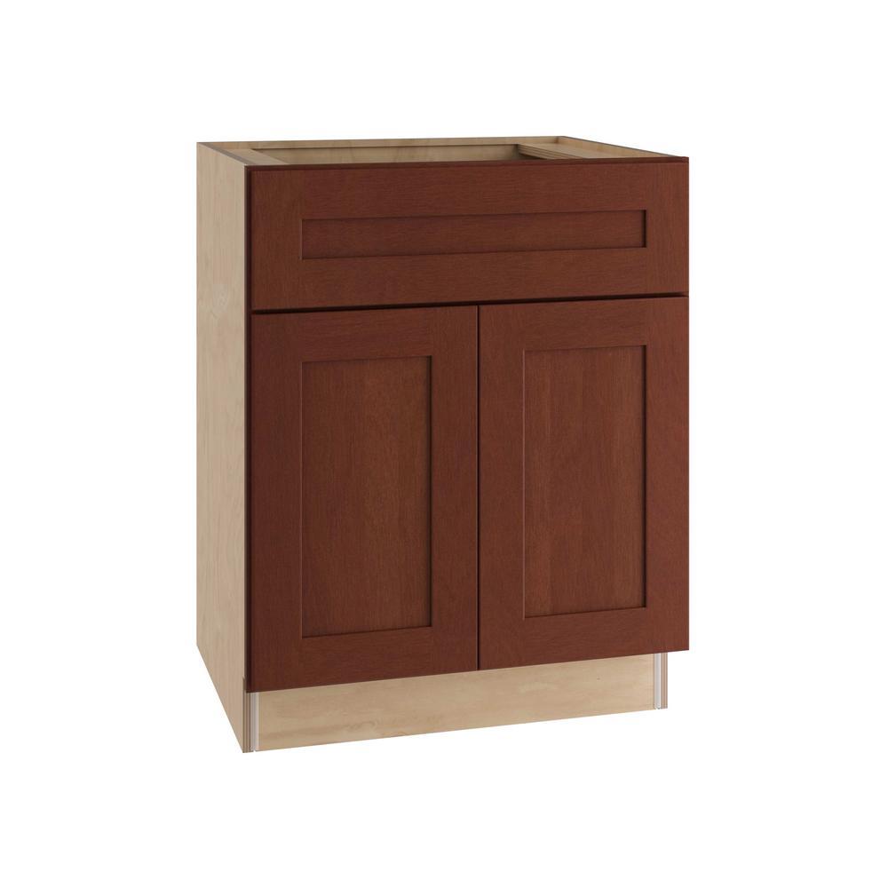 Kingsbridge Assembled 27x34.5x24 in. Double Door and False Drawer Front Base Kitchen Sink Cabinet in Cabernet