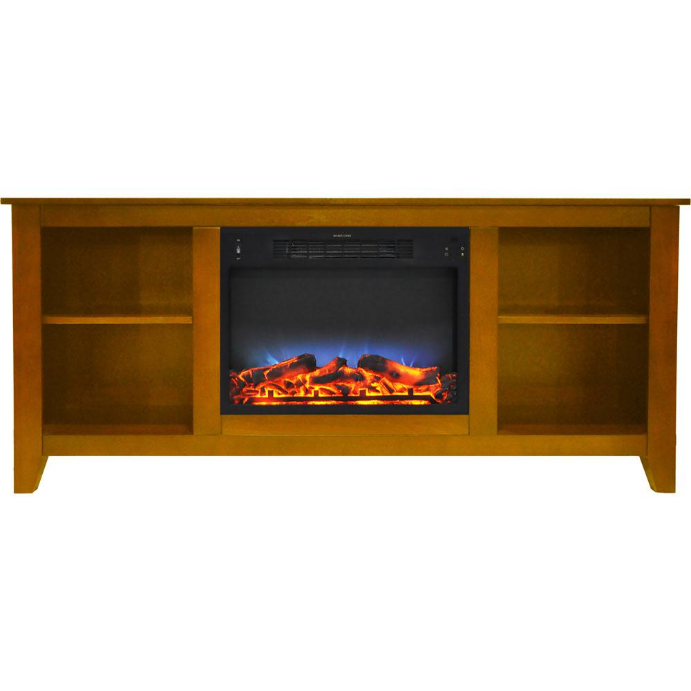 Santa Monica 63 in. Electric Fireplace and Entertainment Stand in Teak