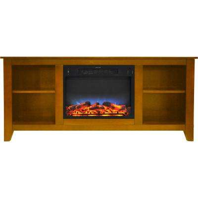 Santa Monica 63 in. Electric Fireplace and Entertainment Stand in Teak with Multi-Color LED insert