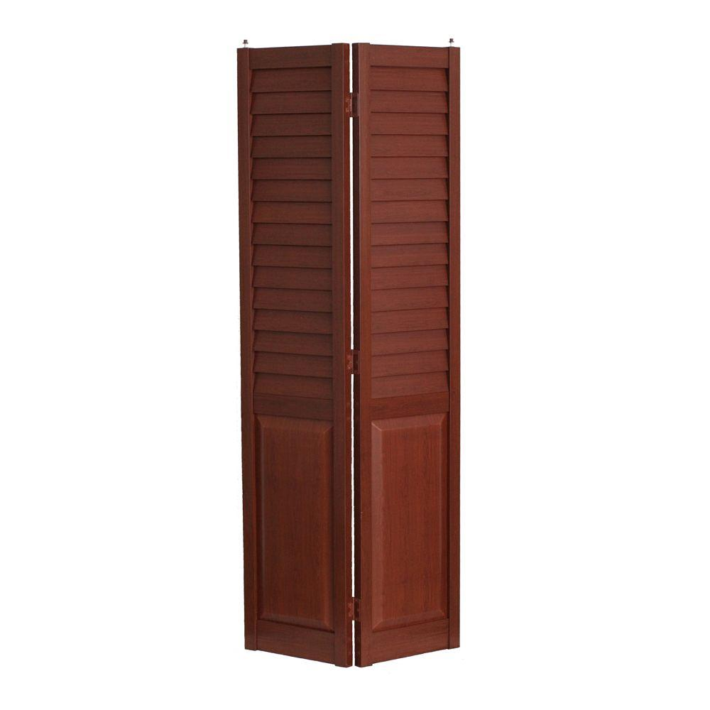 Home Fashion Technologies 32 in. x 80 in. 3 in. Louver/Panel Cherry ...