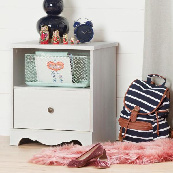 South Shore Caravell 1-Drawer White Wash Nightstand 10300
