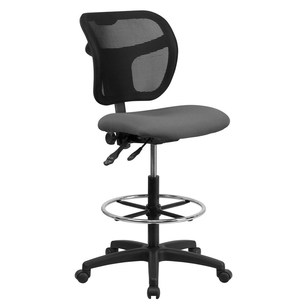 Mid-Back Mesh Drafting Chair with Gray Fabric Seat