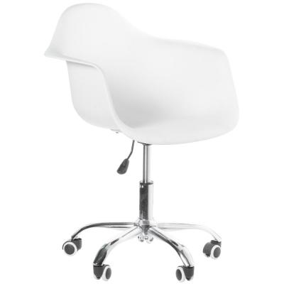Mid-Century Modern Style Swivel Plastic Shell Molded Office Task Chair with Rolling Wheels, White
