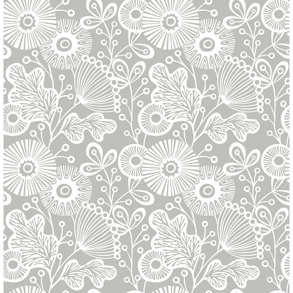 Grey Mia Peel and Stick Wallpaper