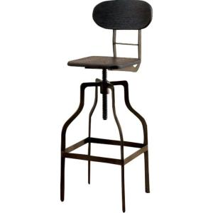 Remarkable 36 In Dark Brown And Black Wooden Industrial Swivel Bar Stool Ncnpc Chair Design For Home Ncnpcorg
