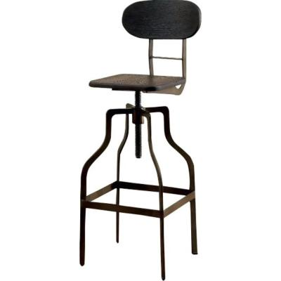 36 in. Dark Brown and Black Wooden Industrial Swivel Bar Stool