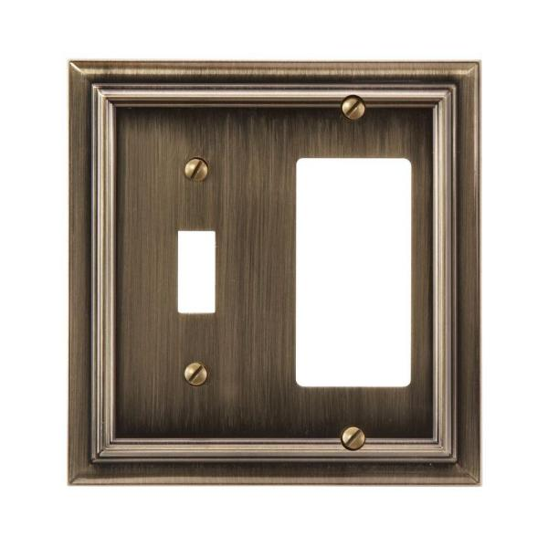 Continental 2 Gang 1-Toggle and 1-Rocker Metal Wall Plate - Brushed Brass