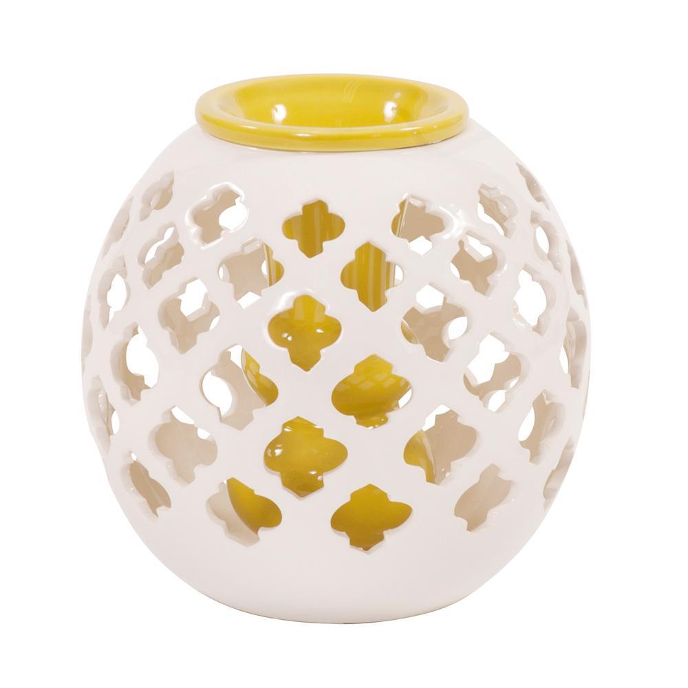 Round White Lattice Ceramic Decorative Vase