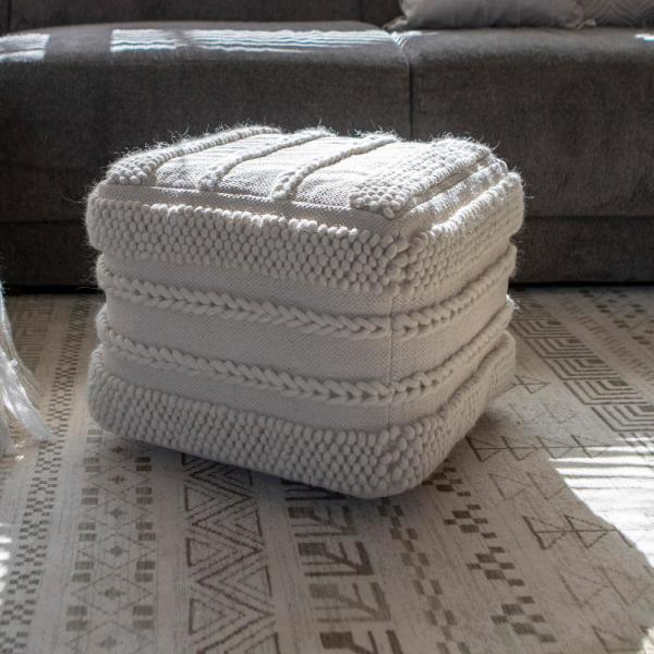 Winifred Natural Cream Square Pouf