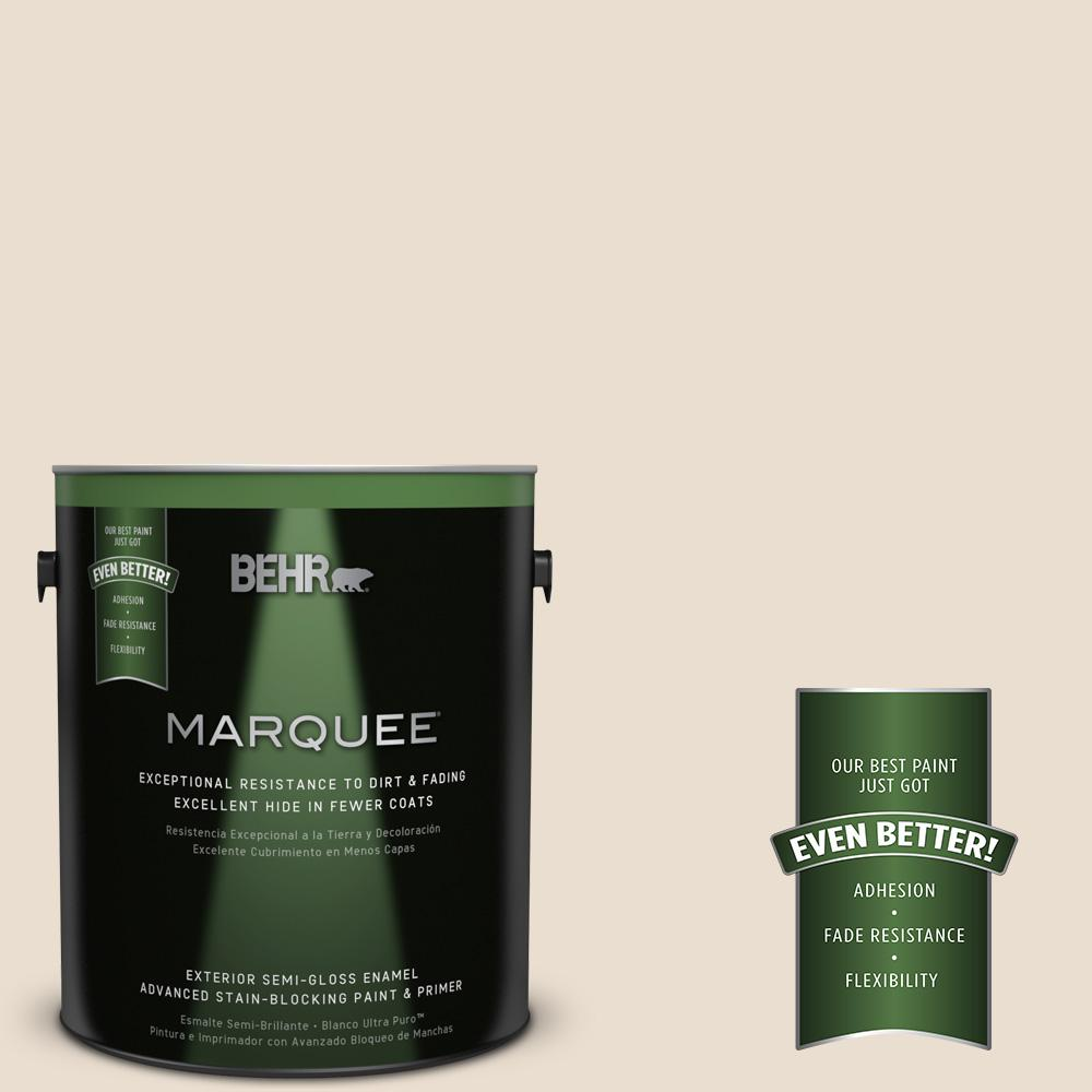 BEHR MARQUEE 1-gal. #W-F-120 Natural Linen Semi-Gloss Enamel Exterior Paint