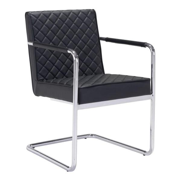 Xavier Leatherette Dining Chair Black: ZUO Quilt Black Leatherette Dining Chair 100189