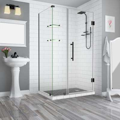 47.25 in. to 48.25 in. x 38.375 in. x 72 in. Frameless Corner Hinged Shower Enclosure with Glass Shelves in Matte Black