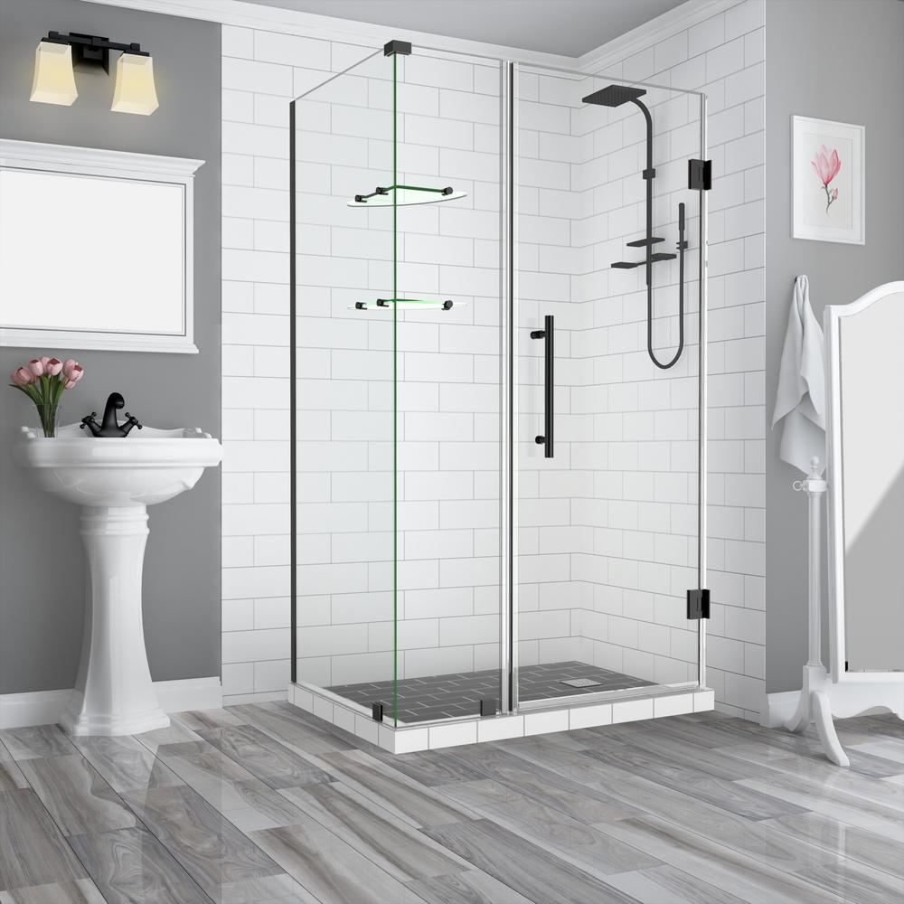 Aston Bromley GS 39.25 to 40.25 x 30.375 x 72 Frameless Corner Hinged Shower Enclosure with Glass Shelves in Oil Rubbed Bronze