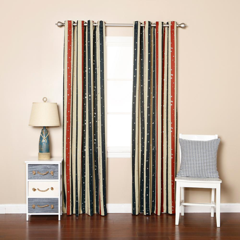 Best Home Fashion 84 In L Polyester Red And Blue Striped Metallic Star Curtain Panels Ivory 2 Pack