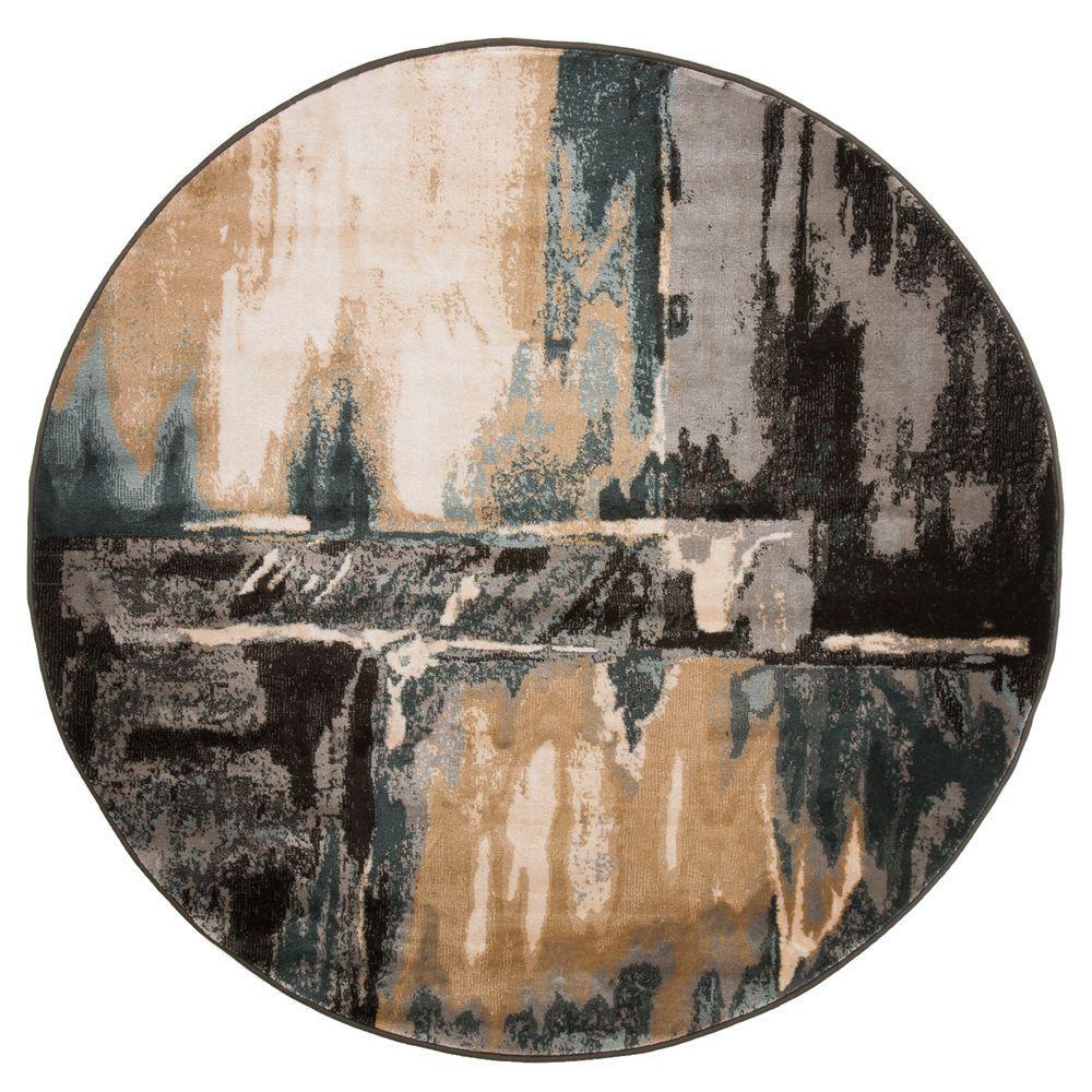 Lavish Home Opus Artfully Abstract Gray 5 Ft. X 5 Ft. Round Area Rug