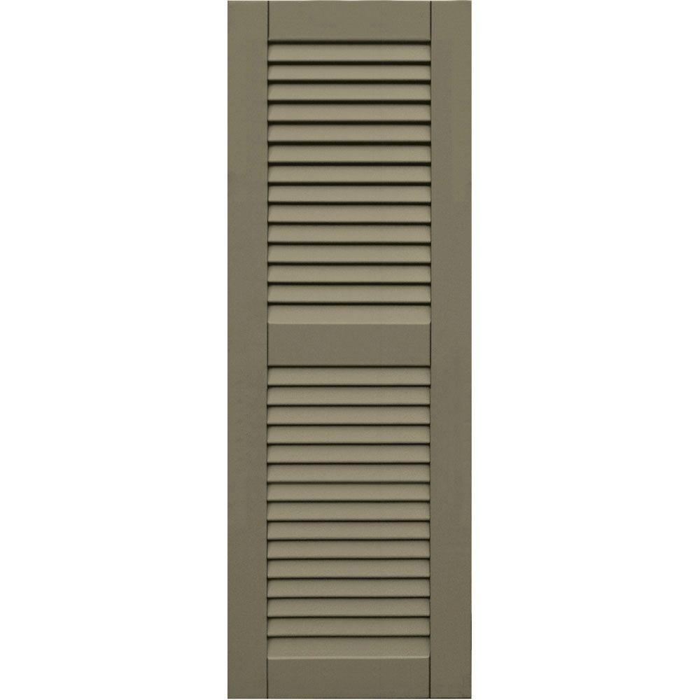 Winworks Wood Composite 15 in. x 43 in. Louvered Shutters Pair #660 Weathered Shingle