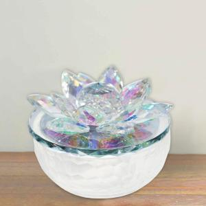 White and Clear Glass Trinket Decorative Jar Accented with Crystal Lotus Flower