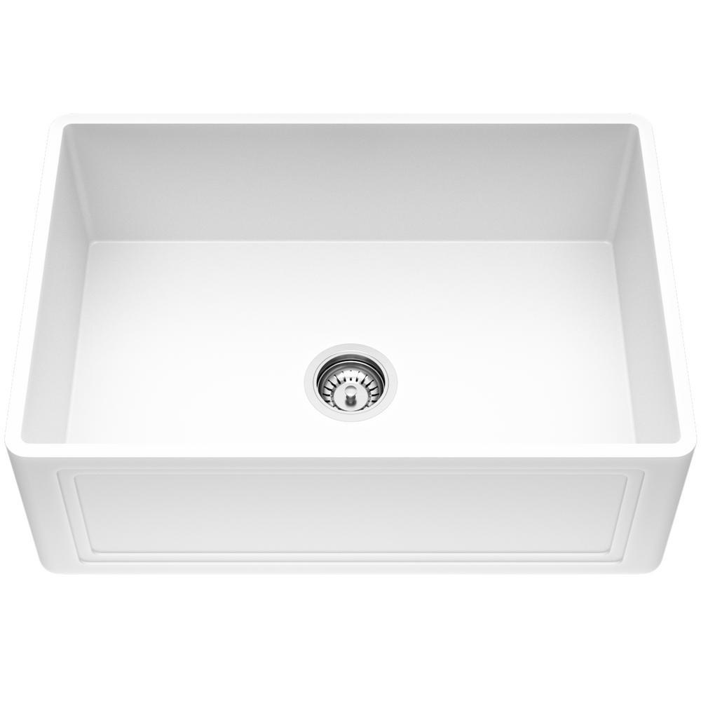 Reversible Farmhouse Apron-Front Matte Stone 27 in. 0-Hole Single Bowl Kitchen Sink in White