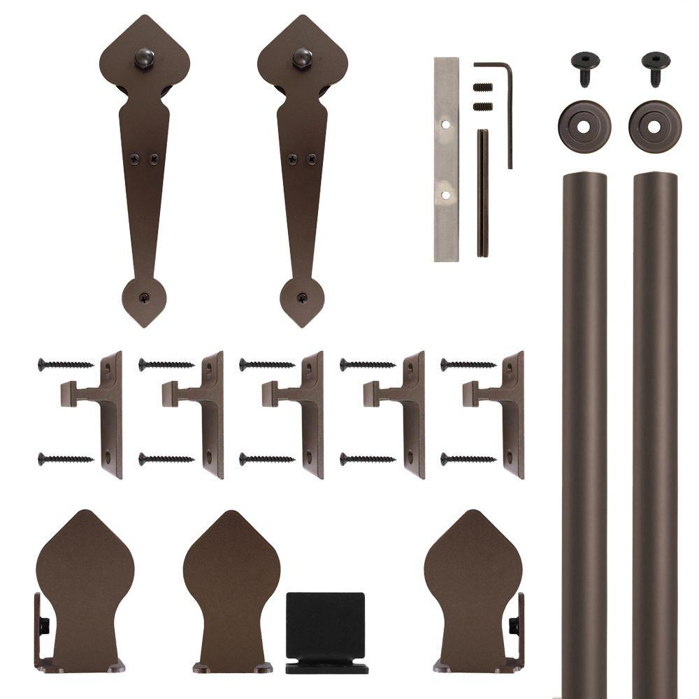 Spade Non-Hammered Oil Rubbed Bronze Rolling Door Hardware Kit for 3/4