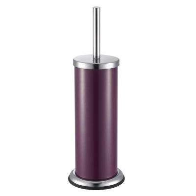 Powder-Coated Toilet Brush Holder with Brush in Purple