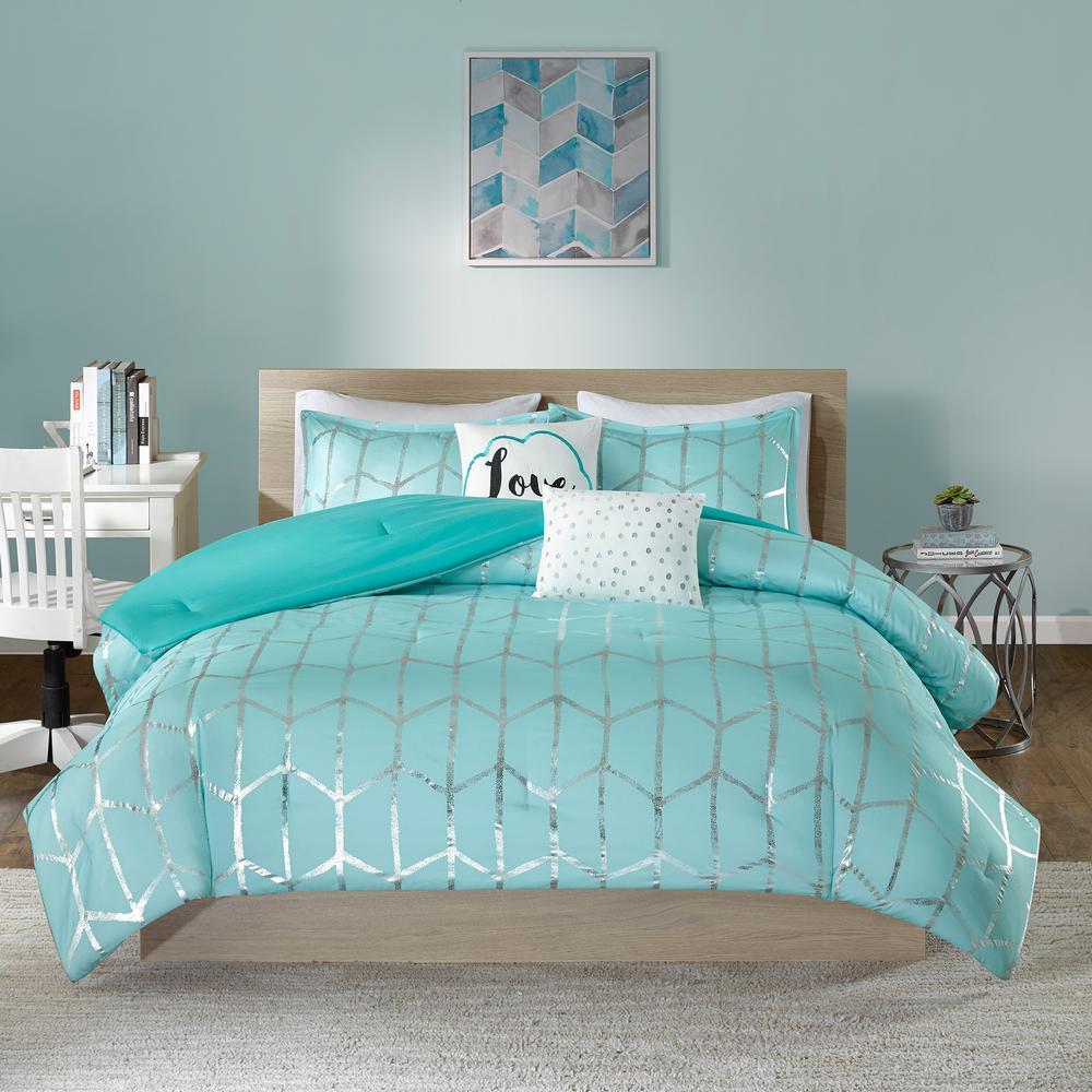 Intelligent Design Khloe 4-Piece Aqua/Silver Twin/Twin XL Geometric Comforter