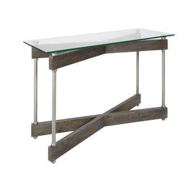 Garth Gunmetal Glass and Wood X-Frame Console Table