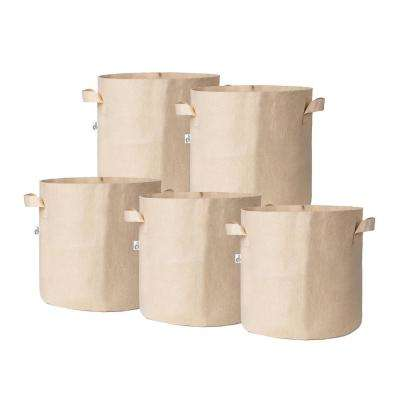 11.25 in. x 10.5 in. 5 Gal. Breathable Fabric Pot Bags with Handles Tan Felt Grow Pot (5-Pack)