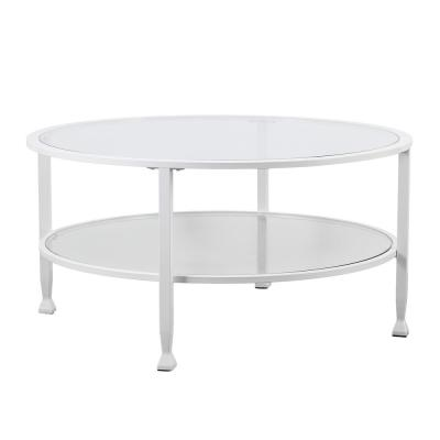 Galena Metal and Glass White Round Cocktail Table