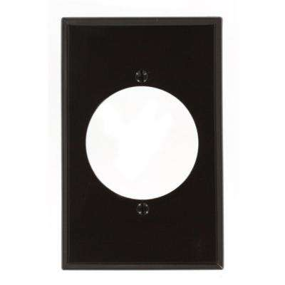 1-Gang with 2.15 in. Dia Hole, Midway Size, Nylon Power Outlet Wall Plate - Brown