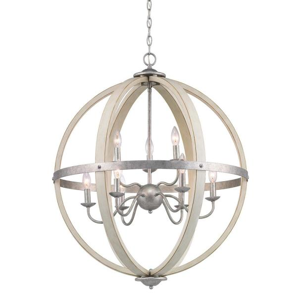 Keowee 9-Light Galvanized Orb Chandelier with Antique White Wood Accents