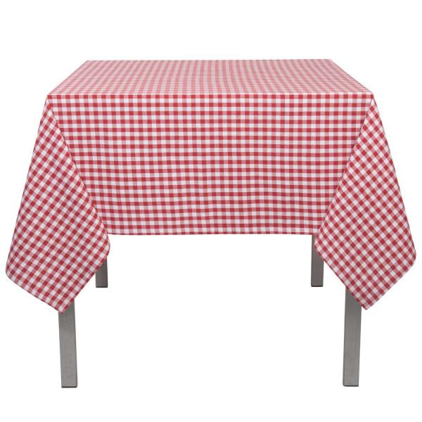 Astounding 60 In X 90 In Gingham Red Checkered Cotton Tablecloth Home Interior And Landscaping Ponolsignezvosmurscom